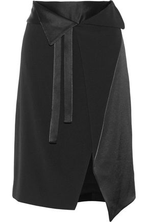 HALSTON HERITAGE Wrap-effect satin-paneled crepe skirt