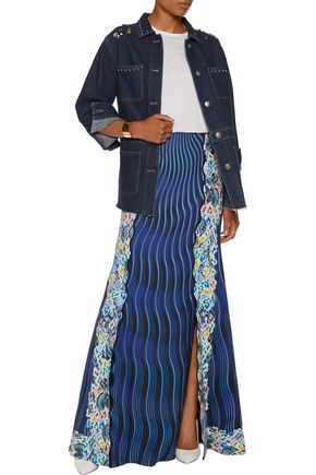 MARY KATRANTZOU Pyrite printed crepe and silk maxi skirt