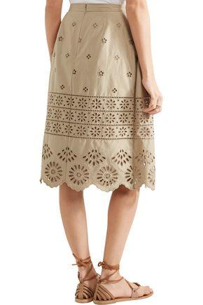 SEA Pleated broderie anglaise cotton-poplin midi skirt