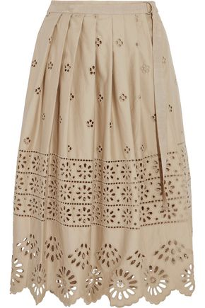 SEA Pleated broderie anglaise cotton-poplin midi skirt