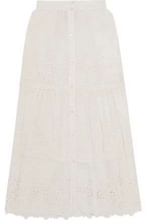 SEA Gathered broderie anglaise cotton-voile midi skirt