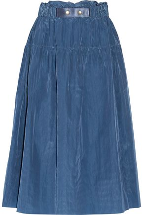 SEA Gathered taffeta midi skirt