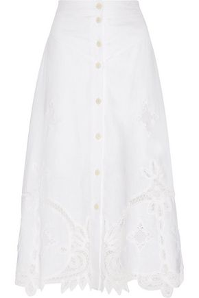 SEA Embroidered linen midi skirt