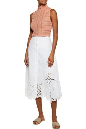 SEA Embroidered linen midi skirt