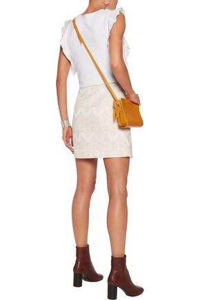 MAJE Ruffled embroidered cotton-blend mini skirt