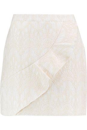 MAJE Ruffled embroidered cotton-blend mini skirt