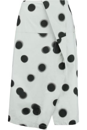 MARC BY MARC JACOBS Draped polka-dot cotton-blend midi skirt