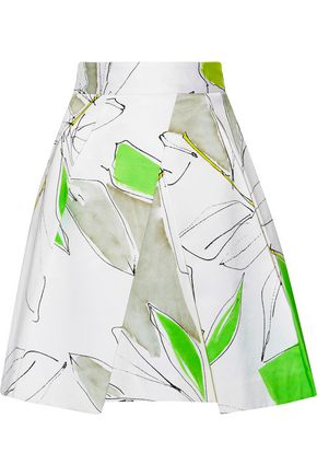MILLY Clarisa pleated printed cotton-blend skirt