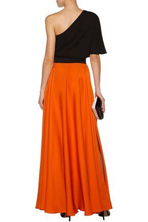MILLY Pleated silk-satin maxi skirt