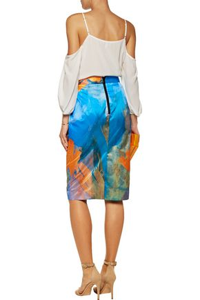 MILLY Lana printed cotton and silk-blend skirt