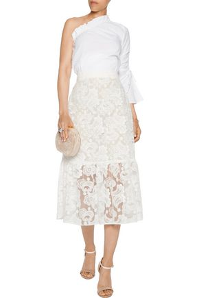 PERSEVERANCE Fluted embroidered tulle midi skirt