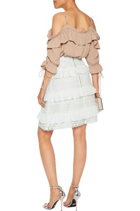 PERSEVERANCE Ruffled chiffon-trimmed guipure lace skirt