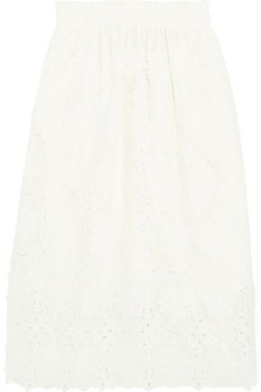 PERSEVERANCE Paneled embroidered corded lace and cotton-voile midi skirt