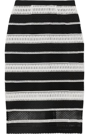 REBECCA VALLANCE Striped guipure lace midi skirt