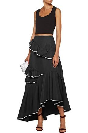 SACHIN & BABI Helena tiered ruffled cotton-blend faille maxi skirt