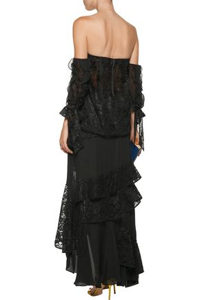 SACHIN & BABI Plie tiered ruffled corded lace and silk crepe de chine maxi skirt