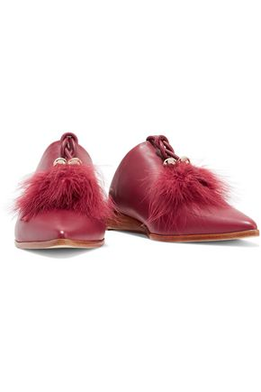 TIBI Sofie feather-embellished leather slippers