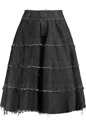 NORMA KAMALI Frayed denim skirt