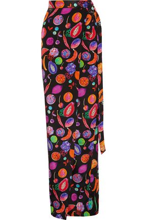 MATTHEW WILLIAMSON Printed silk crepe de chine maxi skirt