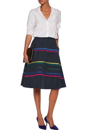 MIRA MIKATI Embroidered faille skirt