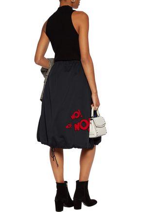 MIRA MIKATI Chenille-appliquéd cotton-gabardine skirt