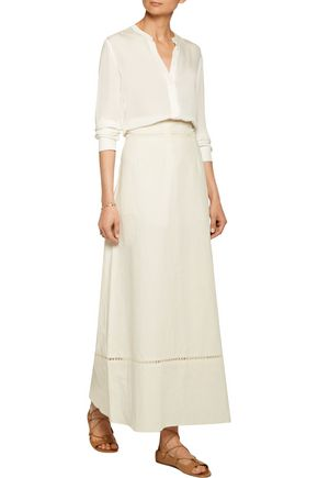 ISABEL MARANT Riley pointelle-trimmed linen and cotton-blend maxi skirt
