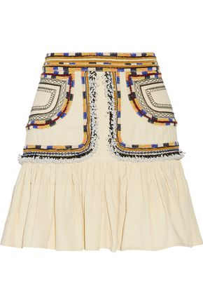 ISABEL MARANT Shad embroidered cotton-twill mini skirt
