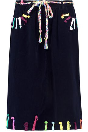 MIRA MIKATI Embroidered cotton-corduroy skirt