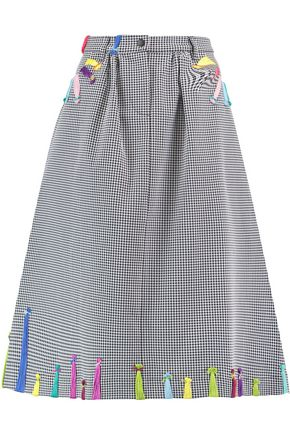 MIRA MIKATI Embroidered houndstooth cotton-blend midi skirt