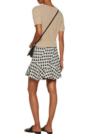DEREK LAM 10 CROSBY Ruffled checked cotton-blend bouclé-tweed mini skirt