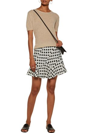 10 CROSBY DEREK LAM Ruffled checked cotton-blend bouclé-tweed mini skirt