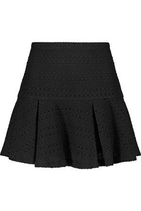 10 CROSBY DEREK LAM Woman Pleated Crochet-Knit Cotton-Blend Mini Skirt Black