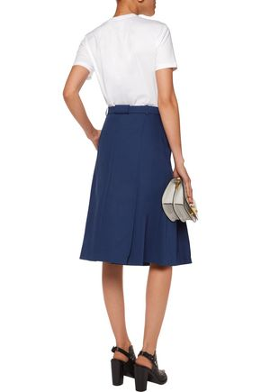 CARVEN Pleated cotton-canvas skirt