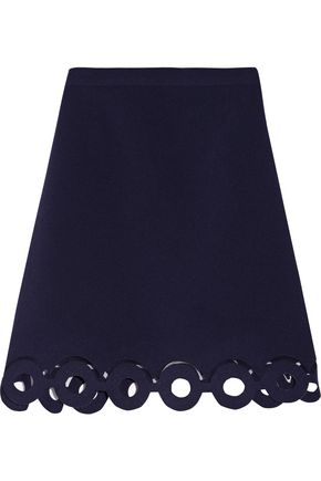 CARVEN Mesh-trimmed cutout crepe mini skirt