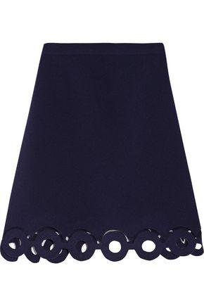 CARVEN Mesh-trimmed cutout crepe mini skirt