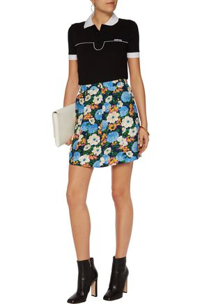 CARVEN Floral-print crepe mini skirt