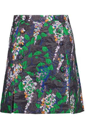 CARVEN Button-embellished jacquard mini skirt