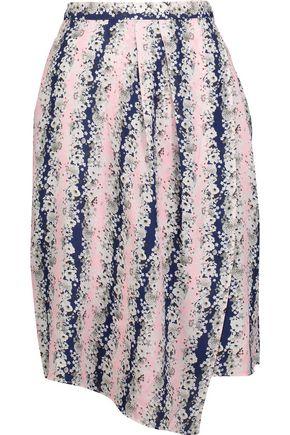 CARVEN Asymmetric floral-print crepe de chine skirt
