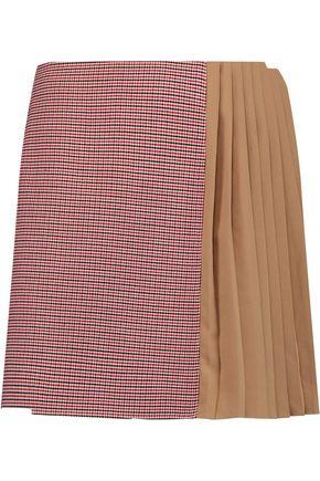 CARVEN Crepe paneled tweed mini skirt