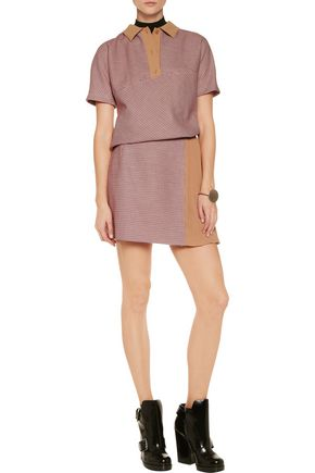 CARVEN Crepe paneled tweed mini skirt