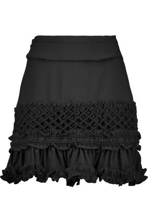 CARVEN Ruffled crepe mini skirt