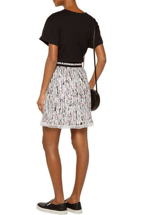 CARVEN Printed plissé-georgette skirt