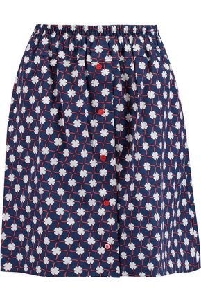 CARVEN Printed cotton-poplin mini skirt