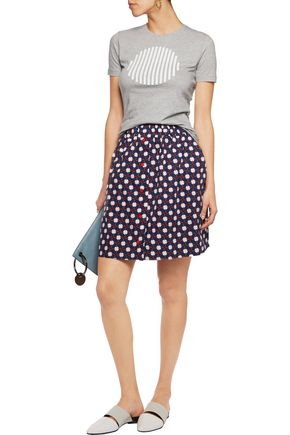 CARVEN Printed cotton-poplin mini skirt