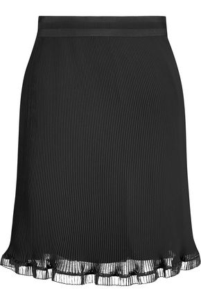 CARVEN Pleated crepe mini skirt