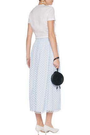 CARVEN Embroidered cutout cotton midi skirt