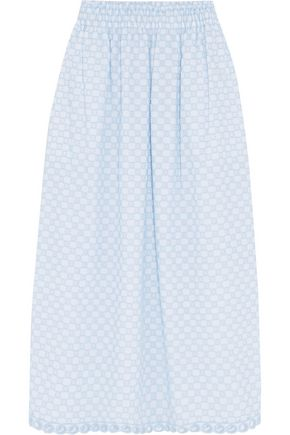 CARVEN Embroidered cutout cotton midi skirt
