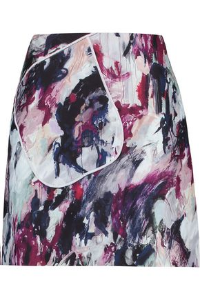 CARVEN Printed crepe mini skirt