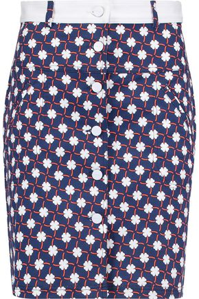 CARVEN Printed cotton-blend twill mini skirt