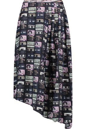 CARVEN Pleated asymmetric printed silk crepe de chine skirt